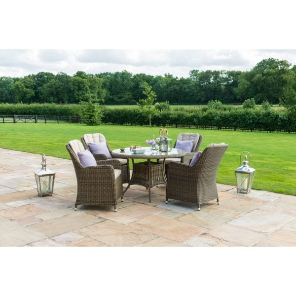 Outdoor Dining Set Round Table.Amalfi 4 Seat Outdoor Dining Set