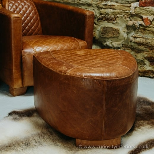 Leather Footstool Quilted Leather Stool Curiosity