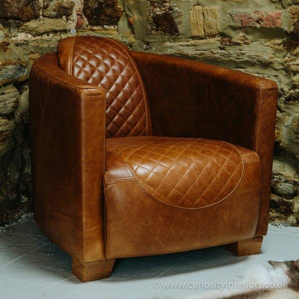 Austin Leather Sofa Range - Leather Tub Chair Leather Club Chair Curiosity Interiors