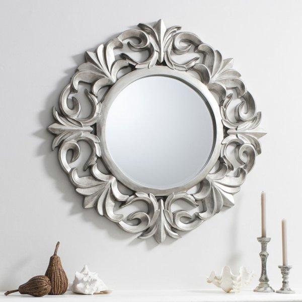 Ornate Silver Round Mirror Pewter, Ornate Round Silver Wall Mirror