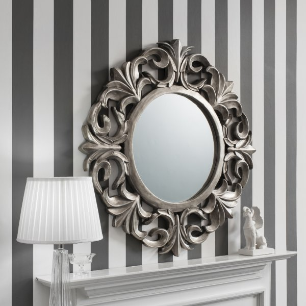 Buy Ornate Silver Round Mirror Pewter Circle Wall Hanging Mirrors