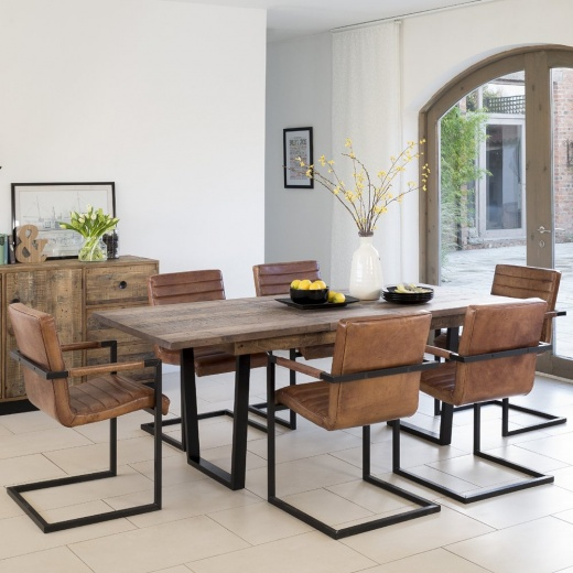 Buy Recycled Wood Extending Dining Table Chunky Metal