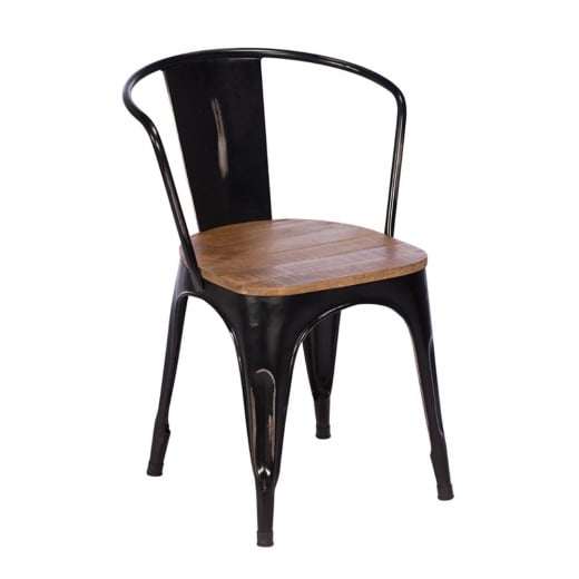 Buy Rustic Metal & Wood Dining Chair  Black Frame Chairs & Furniture