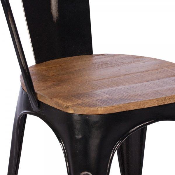 buy rustic metal wood dining chair black frame chairs furniture
