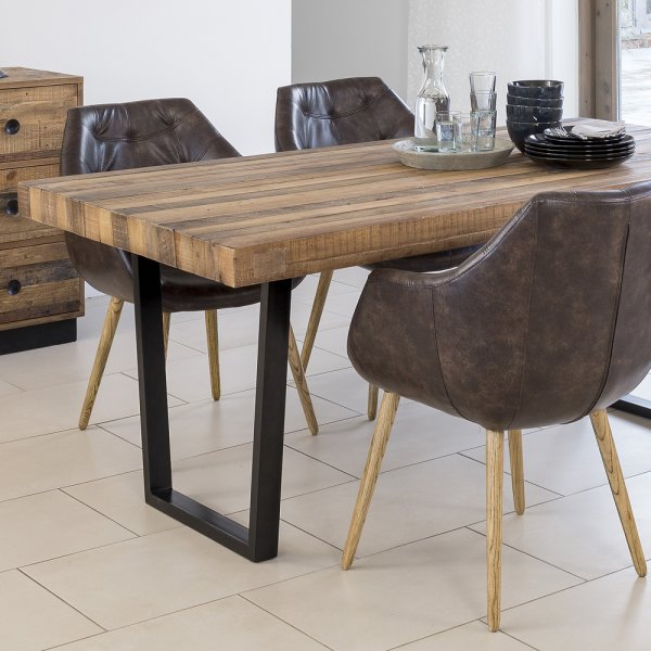 Buy recycled wood plank top dining table chunky metal for Table options