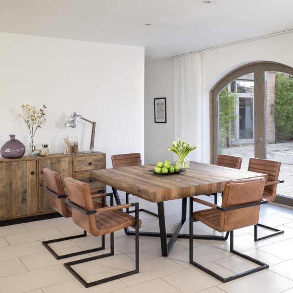 Buy Recycled Wood Plank Square Dining Table Metal Frame Tables