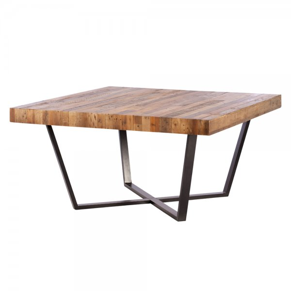Buy recycled wood plank square dining table metal frame for Dining table frame