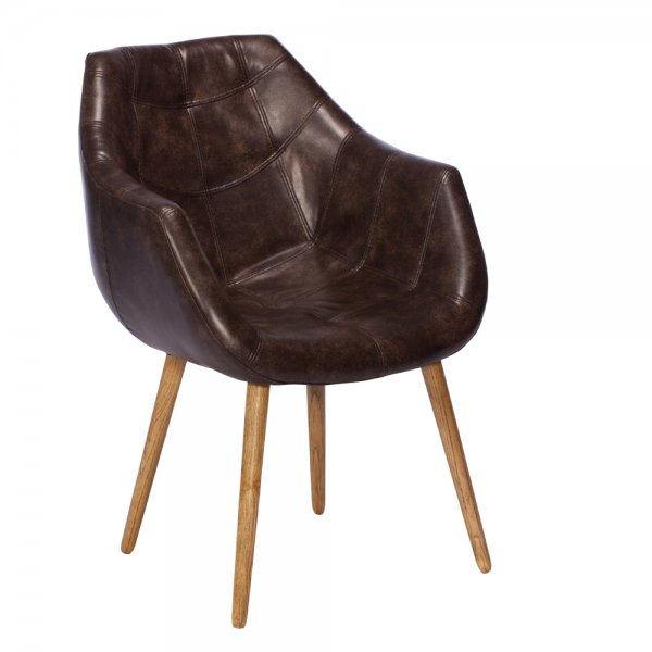 Buy brown leather tub chair ash wood chairs dining