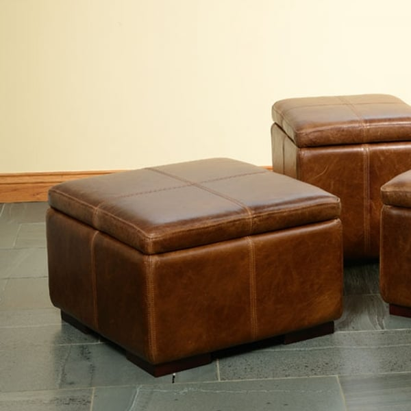 Exceptionnel Caesar Leather Storage Footstool