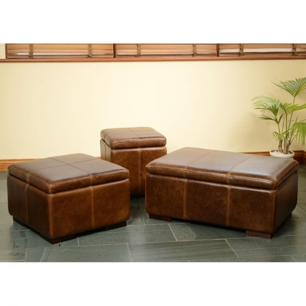 Caesar Leather Storage Footstool