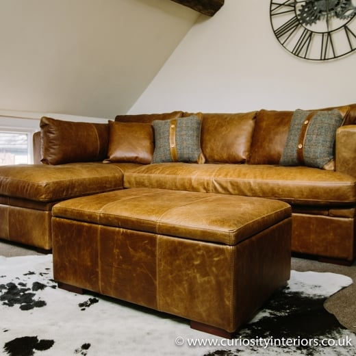 Caesar Leather Storage Footstool