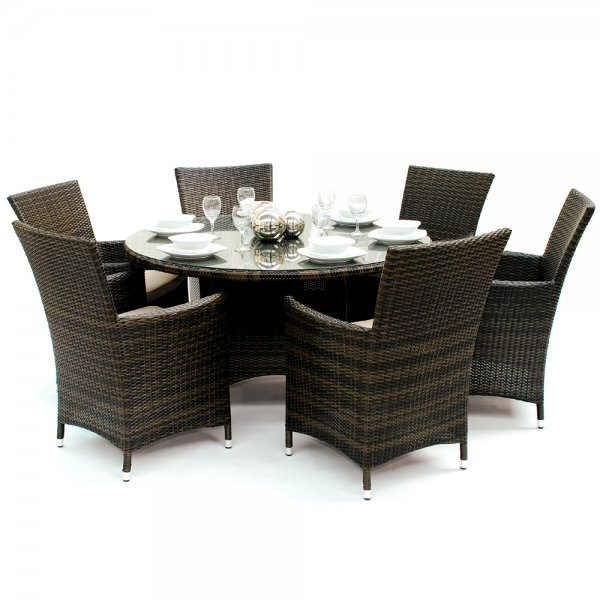California 6 Seater Round Outdoor Dining Set