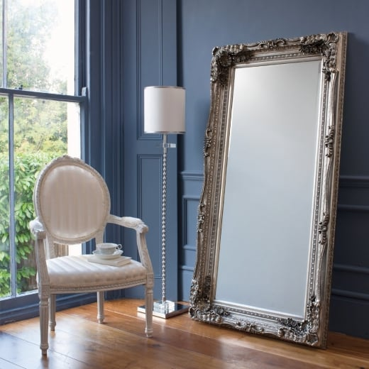 Carved silver pascale leaner mirror floor standing for Large standing mirror