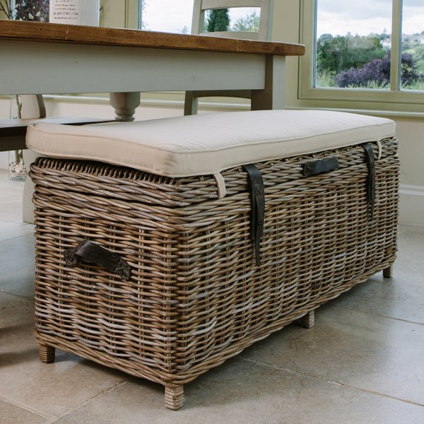 Rattan Storage Bench Basket Trunk With Storage