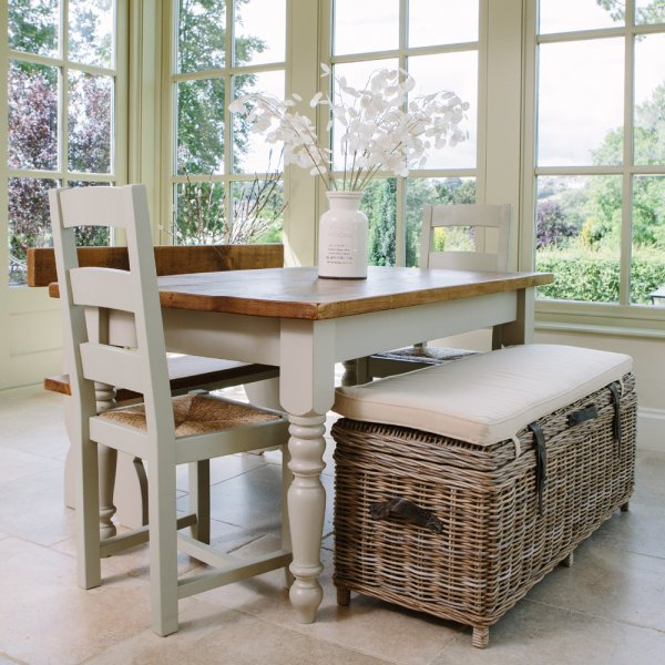 Dining Room Bench With Storage: Cove Rustic Rattan Bench