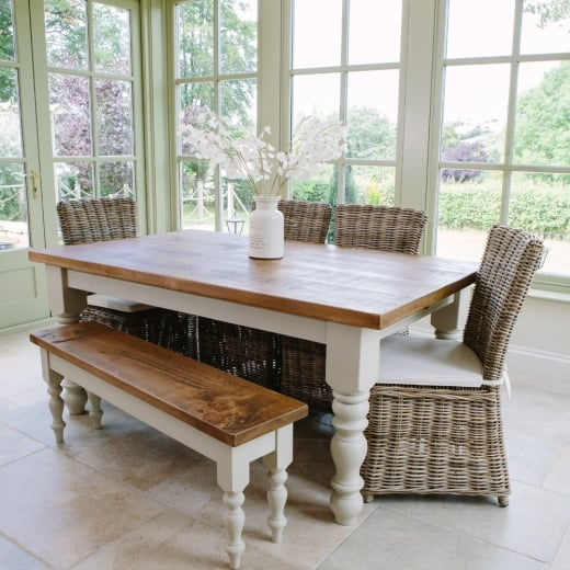 Curiosity Interiors Chunky Hardwick Table, Hardwick Dining Bench & Rattan Chairs Package