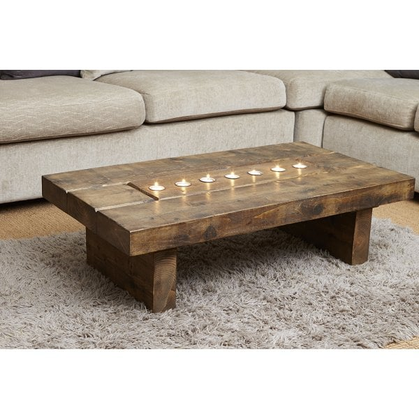 Cube Plank T Light Coffee Table Wood Table Curiosity Interiors