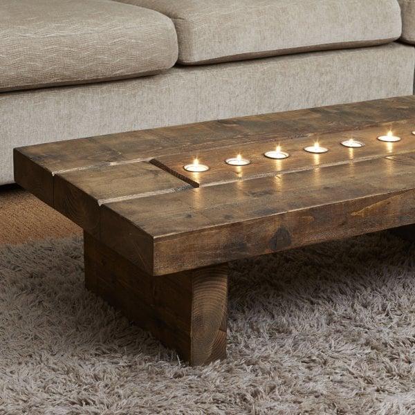 Curiosity Interiors Cube Plank T Light Coffee Table