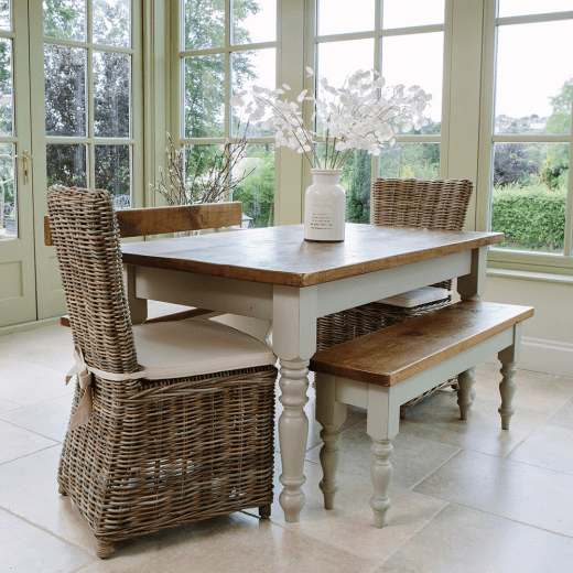 Curiosity Interiors Hardwick Table & Rattan Chairs Dining Package