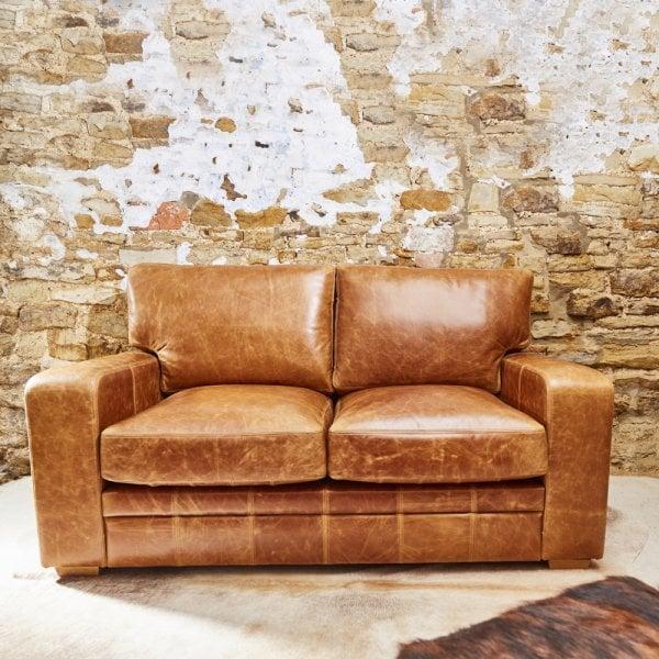 Square Arm Leather Sofa Vintage, Square Arm Leather Sofa