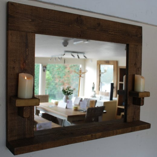 Curiosity Interiors Sherwood Plank Mirror with Candle Holders