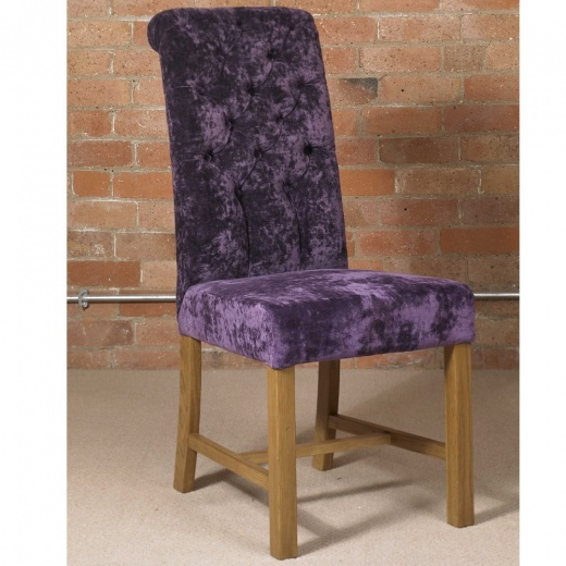 Deluxe Button Back Dining Chair In Velvet Fabric A Wide