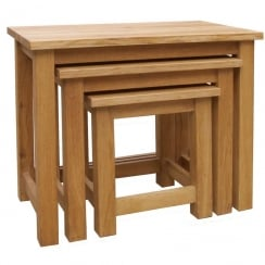 Druid Oak Nest of 3 Tables