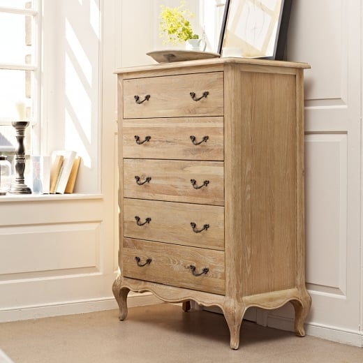 Elegance Oak 5 Drawer Tall Chest