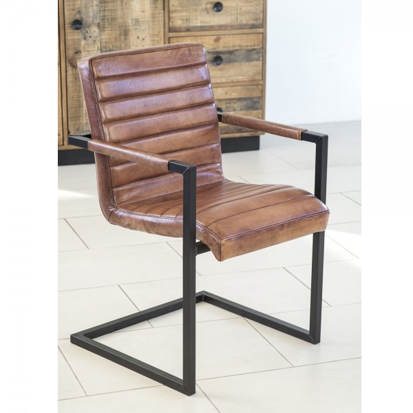 Buy Benson Brown Leather Dining Chair