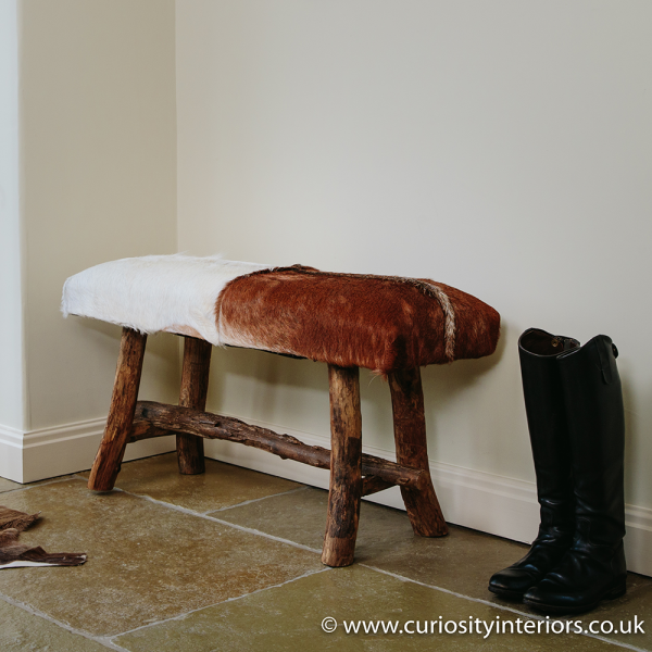 Goat Hide Bench Dining Benches Curiosity Interiors