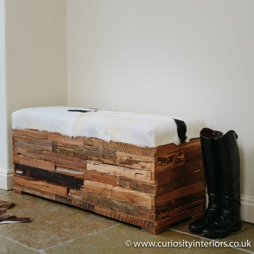 Goat Hide Bench with Storage