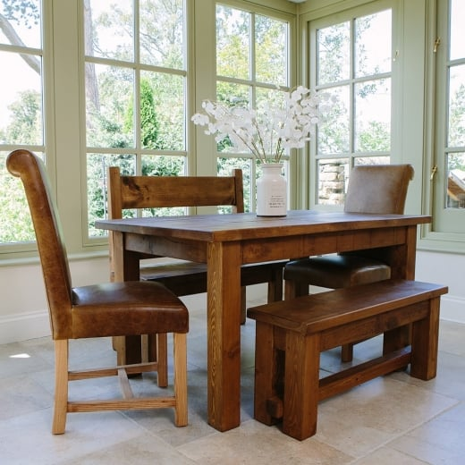 Haddon 5ft Plank Table, Benches & Leather Dining Package
