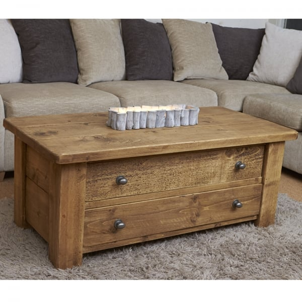Map Drawer Coffee Table: Curiosity Interiors Haddon Plank Coffee Table With Drawers