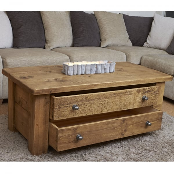 Coffee Table With Map Drawers: Plank Coffee Table With Drawers