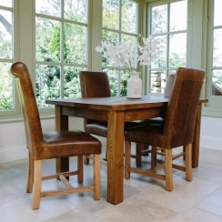 Haddon Plank Dining Table & Leather Dining Chair Package