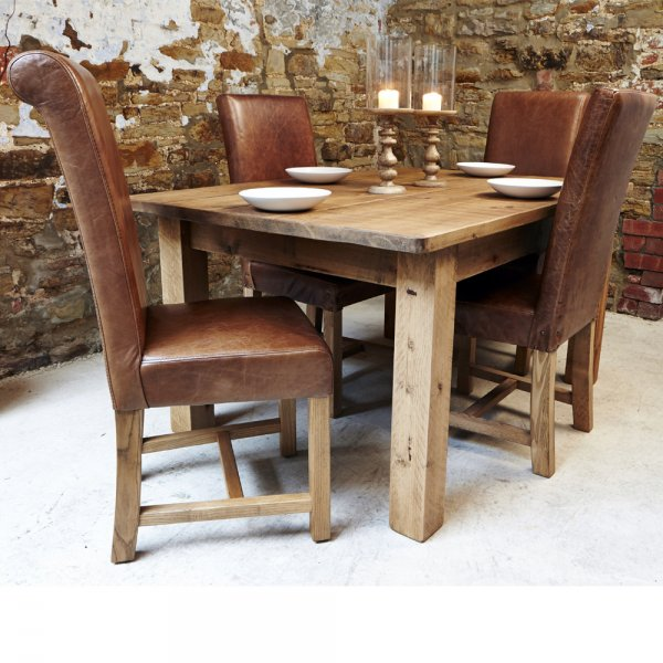 Haddon Plank Dining Table Leather Chair Package