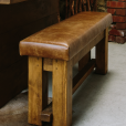 Haddon Plank Leather Bench