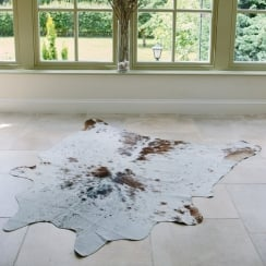 Brown and White Medium Speckled Cowhide Rug