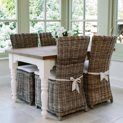 Hardwick Arc Table & Rattan Chairs Dining Package