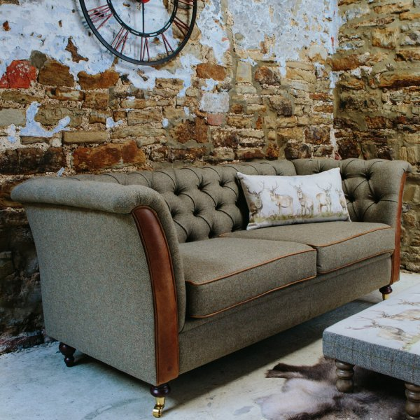 Buy leather wool chesterfield sofas leather studded sofa for Leather and tweed sofa
