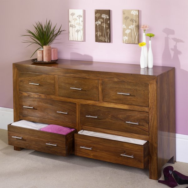 Rustic Modern 7 Drawer Chest Sheesham Wood Living And Bedroom