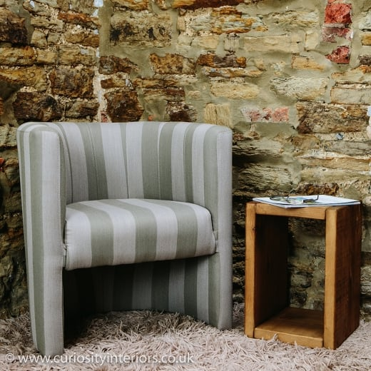 Grey Stripe Tub Chair from Curiosity Interiors | Stripe Fabric Chairs