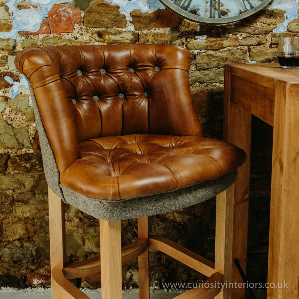 Italian Leather Amp Wood Bar Stool From Curiosity Interiors