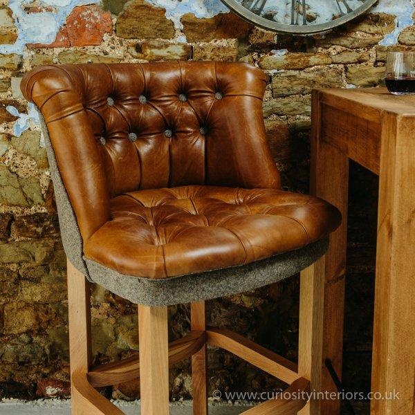 Italian Leather Amp Wood Bar Stool From Curiosity Interiors