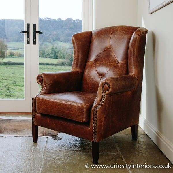 Julius Leather Amp Tweed Wing Armchair