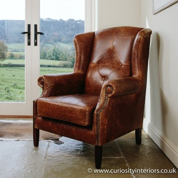 Leather Armchair Wing Tweed Leather Armchair Curiosity