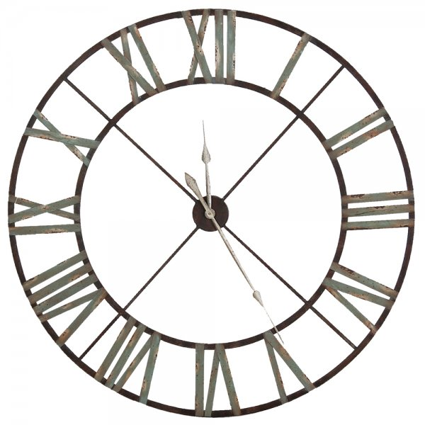 Large Iron Wall Clock Indoor Roman Numerals Clock Home