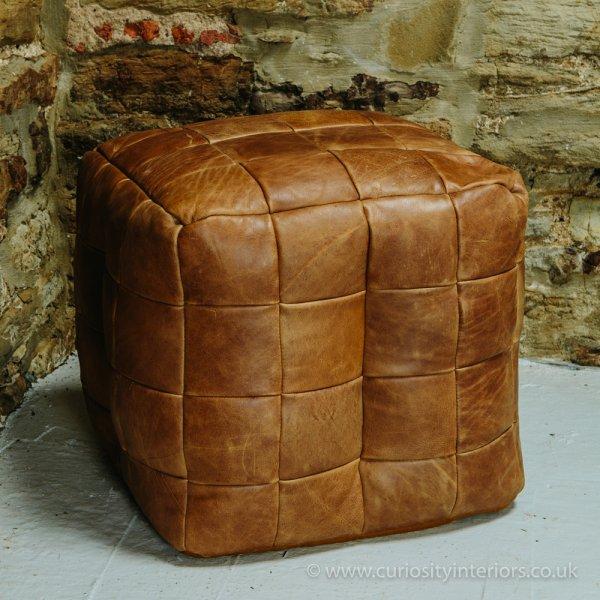 Terrific Leather Cube Bean Bag Footstool Machost Co Dining Chair Design Ideas Machostcouk