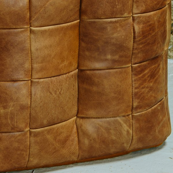 Leather Cube Bean Bag Footstool