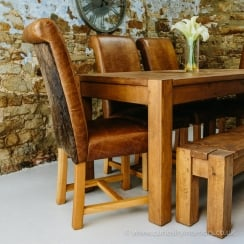 Leather Hide Rollback Dining Chair